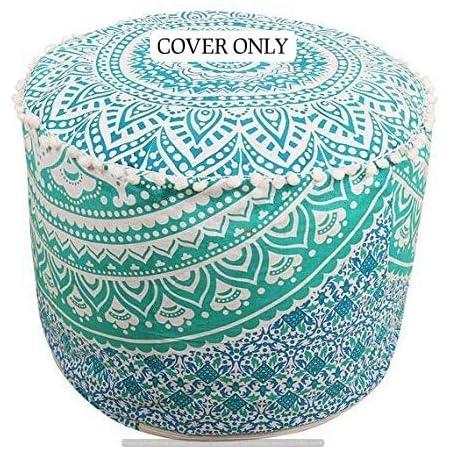 Indian Home Decor Cotton Round Floor Pillow Cover Ottoman Zipper Pom Lace Pouf