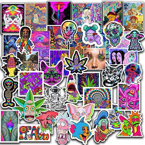 Trippy Stickers 50pcs Packs - Supreme Stoner Sticker - Cool Hippie Skater Random Thrasher Decals, Dope 90s Stikers for Helmet - Trippy Graffiti Sticker Lot 100% Vinyl