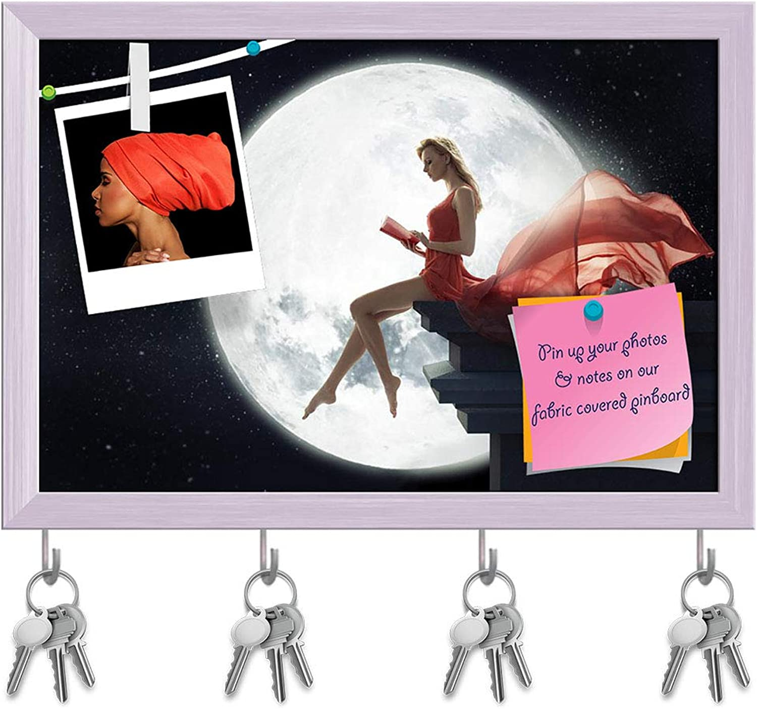 Artzfolio Cute Lady Over Full Moon Key Holder Hooks   Notice Pin Board   White Frame 17.5 X 12Inch