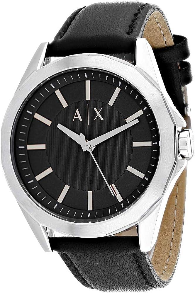 Armani exchange orologio analogico da uomo  in acciaio inossidabile e cinturino in pelle AX2621