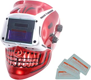 Professional Solar Welding Helmet Auto Darkening Welder Shield Grinding Mask - Red Skull