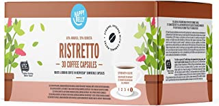 Marca Amazon - Happy Belly Ristretto Café UTZ molido de tueste natural en cápsulas (compostables) compatibles con Nespresso, 30 cápsulas (3x10)
