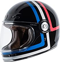 TORC Unisex-Adult T105AMT23 Retro Fiberglass Full-Face Style Motorcycle Helmet with Graphic (Americana Tron Gloss Black, Medium), 1 Pack