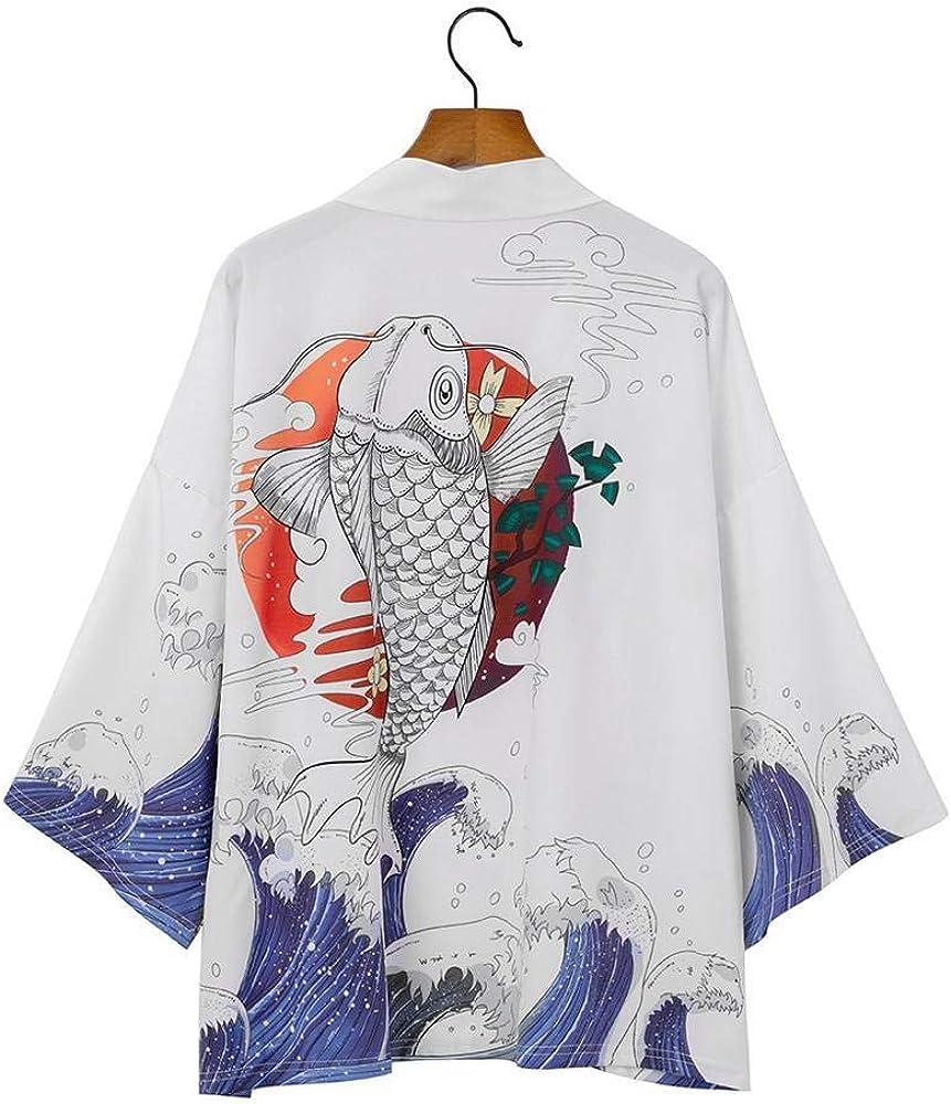 LYH Kimono Cardigan Hombres Japonés OBI Masculino ...
