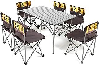 折り畳み テーブル チェア 6脚セット アウトドア キャンプ レジャー 専用キャリーバッグ セットレジャー キャンプ ピクニックテーブル アルミテーブル キャンプ アウトドア 椅子 背もたれ付き ピクニック ベンチセット組立簡単 軽量 持ち運び...
