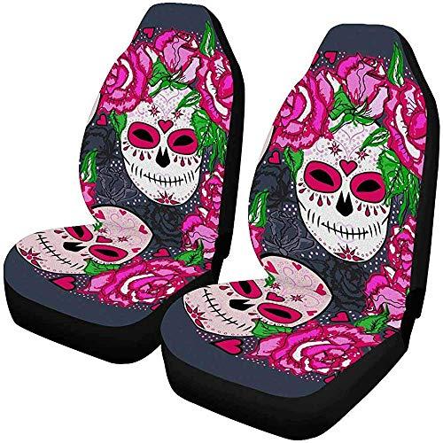 Set van 2 Autostoelhoezen Roze Abstract Aquarel Olie Op Doek Vlekken Kleurrijke Vintage Universele Auto Voorstoelen Beschermer 14-17IN