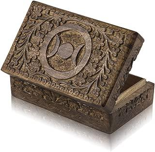 Great Birthday Gift Ideas Handmade Decorative Wooden Jewelry Box Treasure Box Jewelry Organizer Keepsake Box Treasure Chest Trinket Holder Lock Box Watch Box 8 x 5 Inch Her
