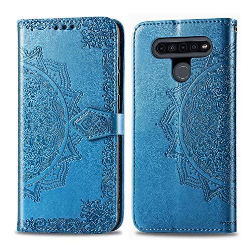 Hülle für LG K41S / K51S Hülle Leder,[Kartenfach & Standfunktion] Flip Case Lederhülle Schutzhülle für LG K51S / K41S - EYSD012056 Blau