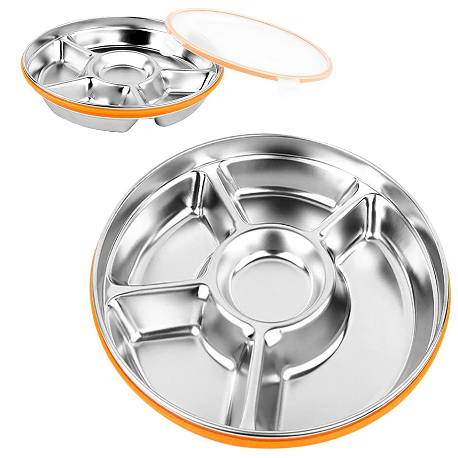 5 Sections Stainless Steel Round Divided Plate Kids Adult Outdoor Picnic Seasoning Dipping Plate