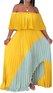 IyMoo Womens Sexy Chiffon Sundress Off Shoulder Ombre Tie Dye Pleated Skirts Long Boho Beach Maxi Dress
