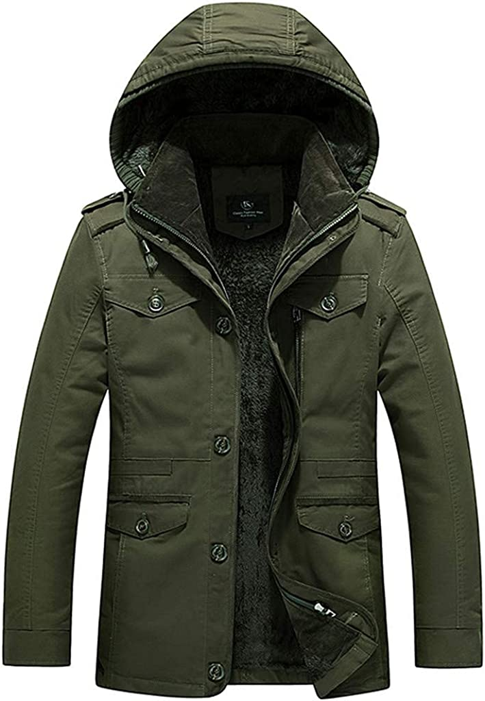 Mens Winter Lined Hooded Coat Military Parkas Down Jacket Classic Thermal Windbreaker M- 6XL Trench Coat
