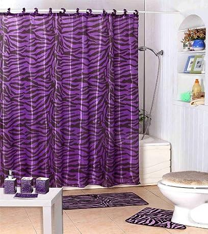 purple zebra animal print shower curtain