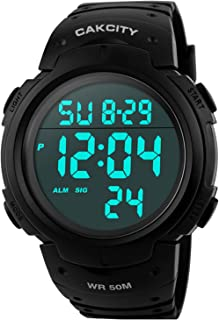 Mens Digital Sports Watch LED Screen Large Face Military Watches for Men Waterproof Casual...