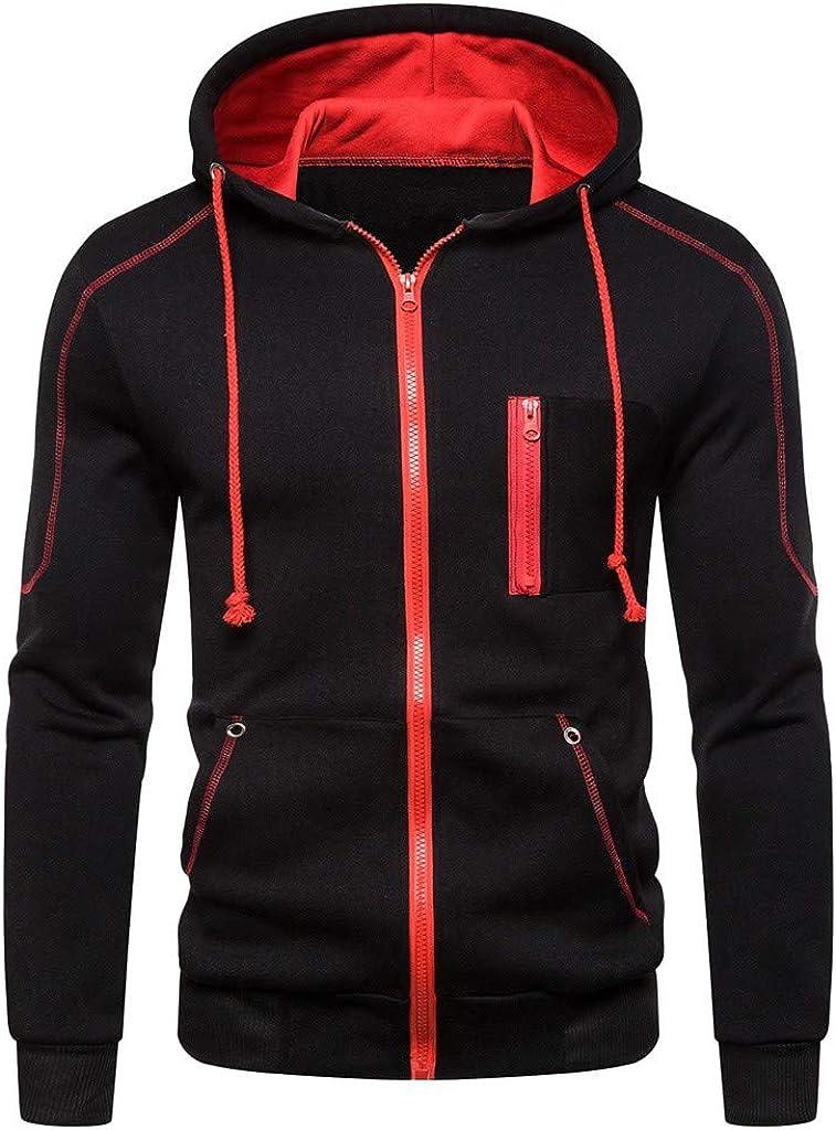 XXBR Zipper Hoodies for Mens, Fall Long Sleeve Hooded Sweatshirts Drawstring Workout Casual Zip Up Jackets Outwear