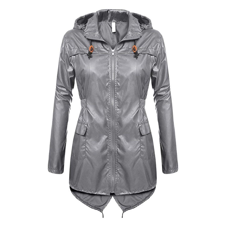 Hzjundasi 雨合羽 - 女性の防風レインウェアスリムウインドブレーカー防水軽量シンクロウエストポケットジッパー付きパーカーアウター