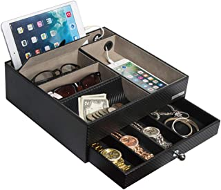 JackCubeDesign Multi-Functional Night Stand Black Leather Jewelry Box Catch All Valet Tray Organizer Storage Case Tray with Drawer and Charging Hole(Black, 11 x 10.4 x 3.5 inches)- :MK389A