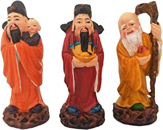Divya Mantra Feng Shui Chinese Three Wise Men / 3 Lucky Immortals/Star Gods/Fu Lu Shou/Fuk LUK Sau Wealth Gods for Long Life, Fame and Fortune - Multicolor