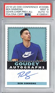 Ben Simmons Signed Auto 2018 UDA Diamond Dealer Goudey Championship 10 - PSA/DNA Certified - Basketball Slabbed Autographed Cards