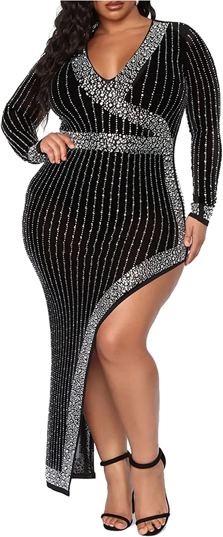 Ranfare Women's Sexy Plus Size Dresses Club Bodycon Midi Dress(XXL-5XL)