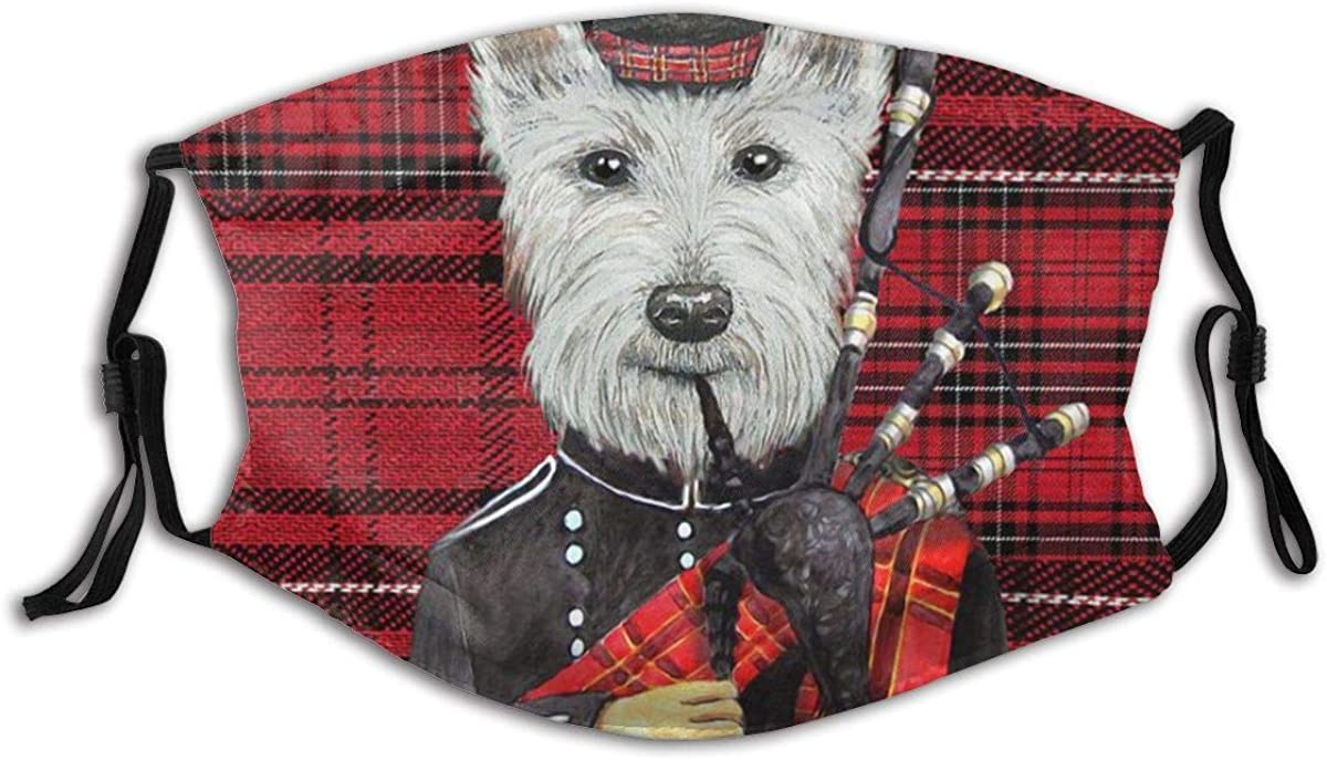 Gesdfwe Reusable Cloth Adults Men Women Unique Scot Dog Funny face mask Washable Balaclava Black