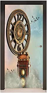 Homesonne Fantasy 3D Door Decal Magical Enchanted Landscape Big Antique Clock Flying Birds Fairytale for Bedroom Decoration Pale Blue Brown Pink,W38.5xH77