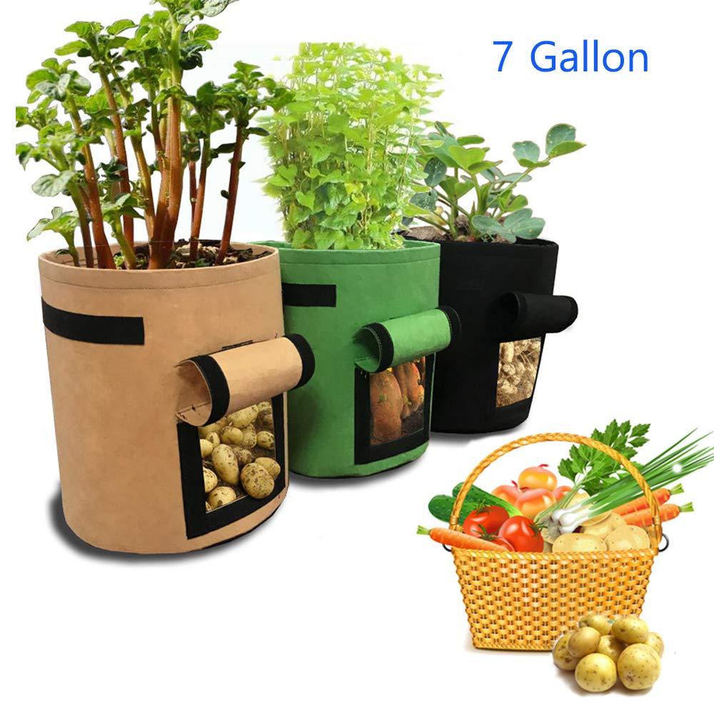 jardín Crecer de Patata Bolsa, AILUOR Sacos para Plantas, 3 Unidades 7 Gallon Juego de Bolsas de Cultivo, Bolsa para Plantar con Ventana para Cultivar hortalizas: Zanahoria y Cebolla (Verde+Marrón+Negro): Amazon.es: Jardín