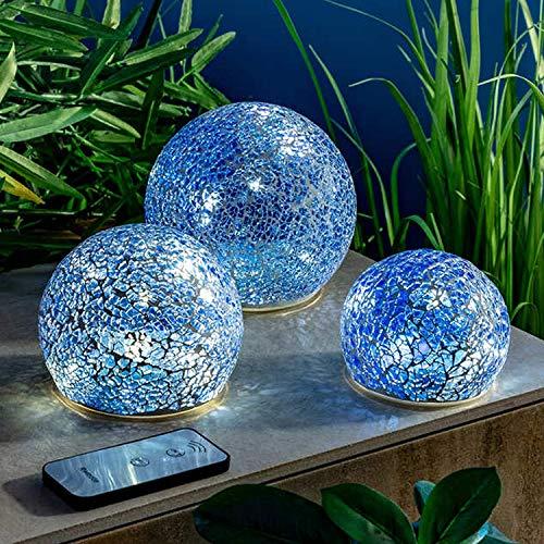 3 LED Glaskugel aus Mosaikglas mit Lichterkette und Timer - Deko für Innen & Außen geeignet (Blau)