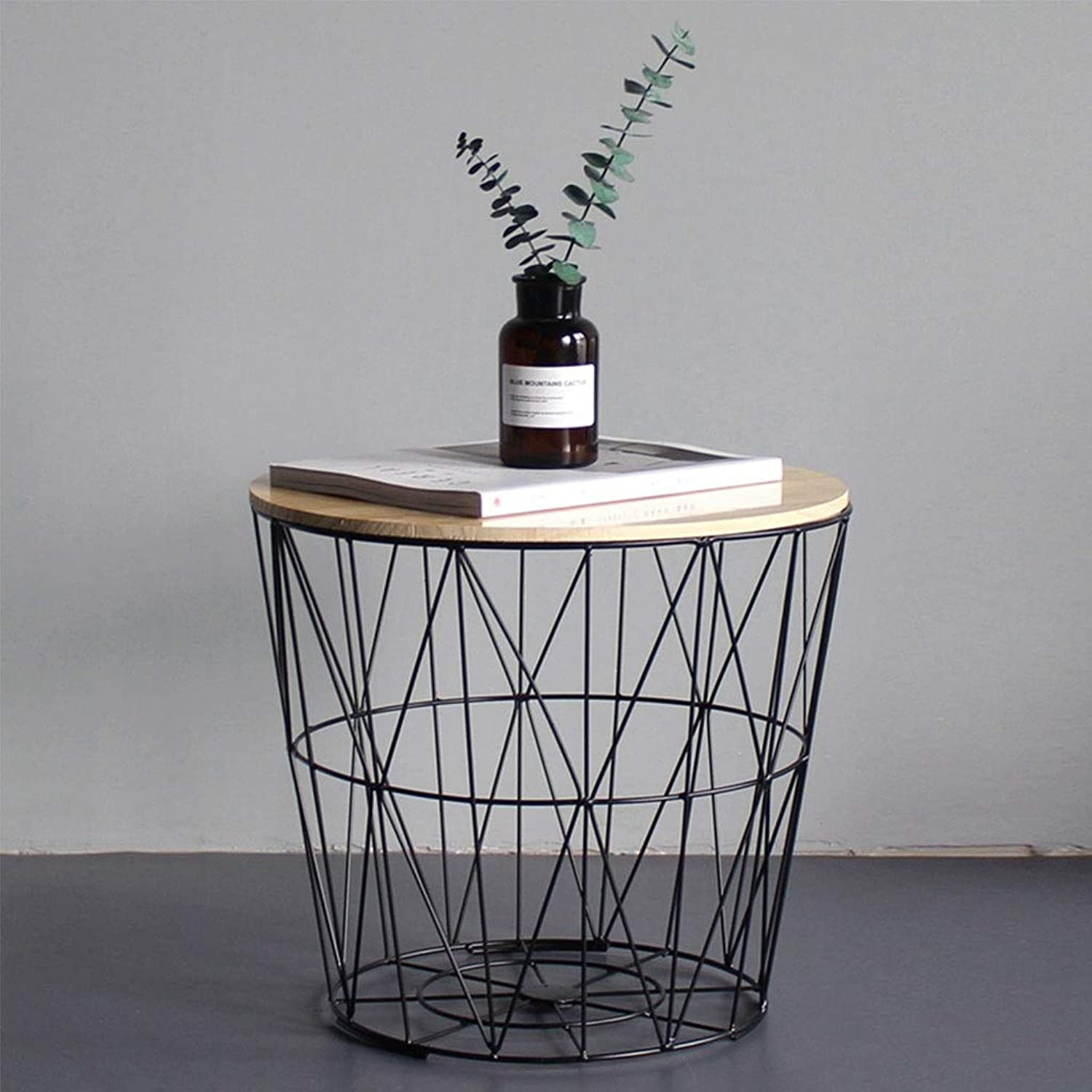 Iron Art Living Room Coffee Table with Storage, Industrial Sofa Corner Table, Solid Wood Small Round Table with Geometric Storage Basket (color   Black, Size   35CM)