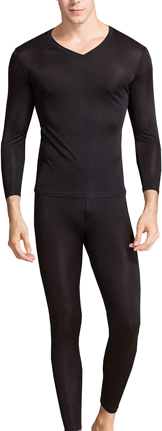 Men's Silk Long Johns Mulberry Mens Popular shop is the lowest price challenge Underwear V-Neck SEAL limited product