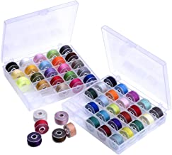 Outus Prewound Thread Bobbins with Bobbin Box for Brother/Babylock/Janome/Elna/Singer, Assorted Colors, 50 Pieces