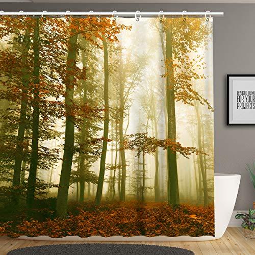 Stacy Fay Duschvorhang, Ahorn in mystischer Landschaft, neblige Landschaft, bedruckt, Stoff, Badezimmer-Dekor-Set mit Haken, 179,8 cm lang, Rot