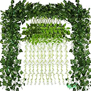Auihiay 12 Pack Artificial Wisteria Vine and 86 ft 12 Strands Artificial Ivy Garland with 100 Pieces Cable Ties for Home Weeding Decoration Garden Wall Greenery Decoration