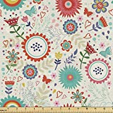 Ambesonne Floral Fabric by The Yard, Scandinavian Inspired Art Flowers Colorful Spring Season Blossoming Print, Decorative Fabric for Upholstery and Home Accents, 2 Yards, Eggshell Multicolor