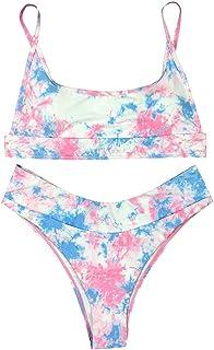 Women Bandage Bikinbi Set Push up, Ladies Sexy Tie-dye Printed Two Piece Swimsuit Swimwear
