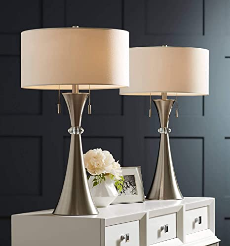 """2021 Hykolity Console Table Lamp Set of 2, Modern Bedside Nightstand Table Lamp for Living Room Bedroom Entryway, 26"""" Side Table Lamp, 2021 Brushed Nickel new arrival End Table Lamps with White Drum Shade online sale"""