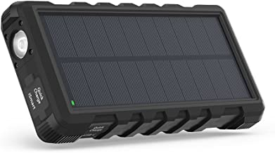RAVPower ソーラーモバイルバッテリー 25000mAh QC3.0充電対応 MicroUSB+Type-C入力 3ポート付き ソーラーパネル 太陽光充電 ソーラーパワーバンク 【18ヶ月間安心保証】 外付けバッテリーパック 耐衝撃・IPX66防水規格 アウトドアポータブル充電器 (黒)