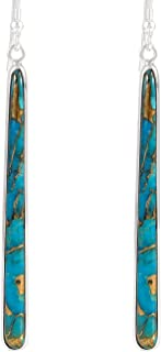 Turquoise Earrings in Sterling Silver & Genuine Turquoise (2.5