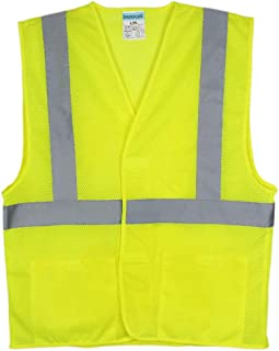 SHORFUNE High Visibility Safety Vest with 2 Pockets and Reflective Strips, Loop and Hook, Yellow, ANSI/ISEA Standards, L-XL
