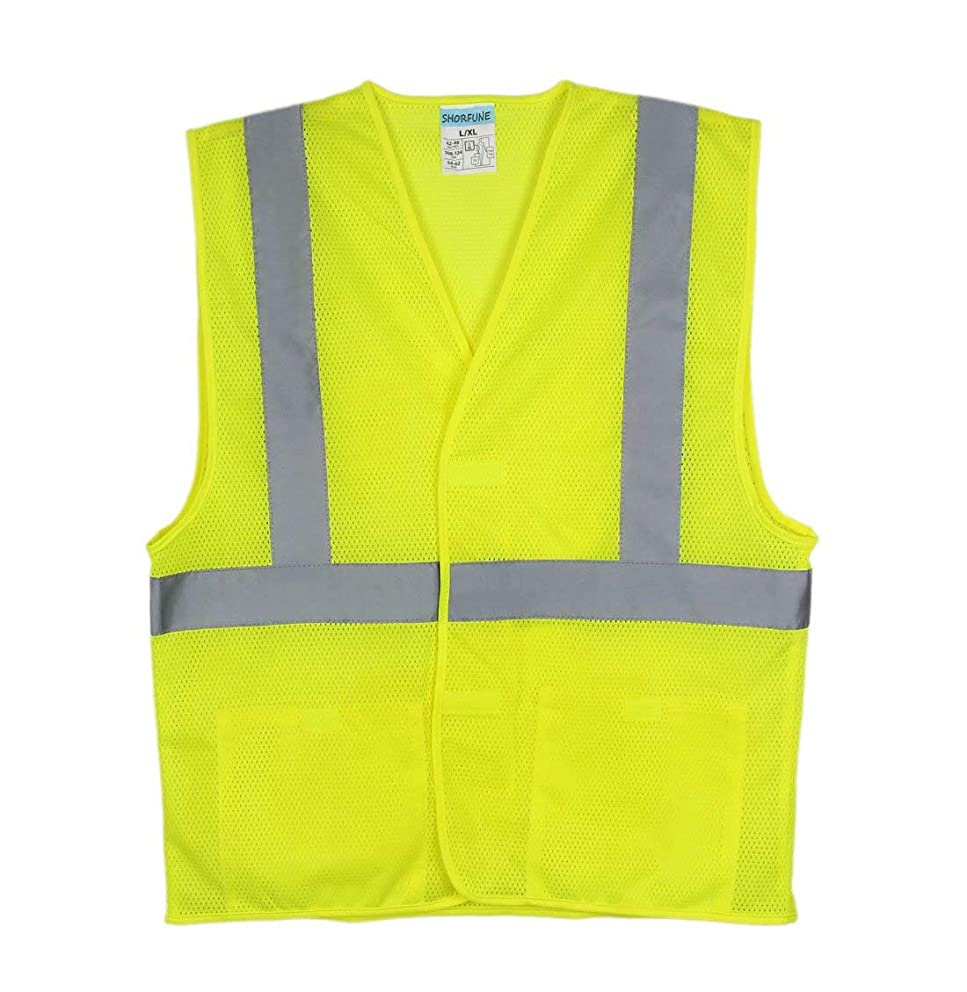 SHORFUNE High Visibility Safety Vest with 2 Pockets and Reflective Strips, Loop and Hook, Yellow, ANSI/ISEA Standards, 2XL-3XL