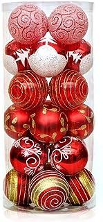 YEKKU Bolas de Navidad, 24 unidades de bolas de Navidad con purpurina para árbol de Navidad, decoración de árbol de Navida...