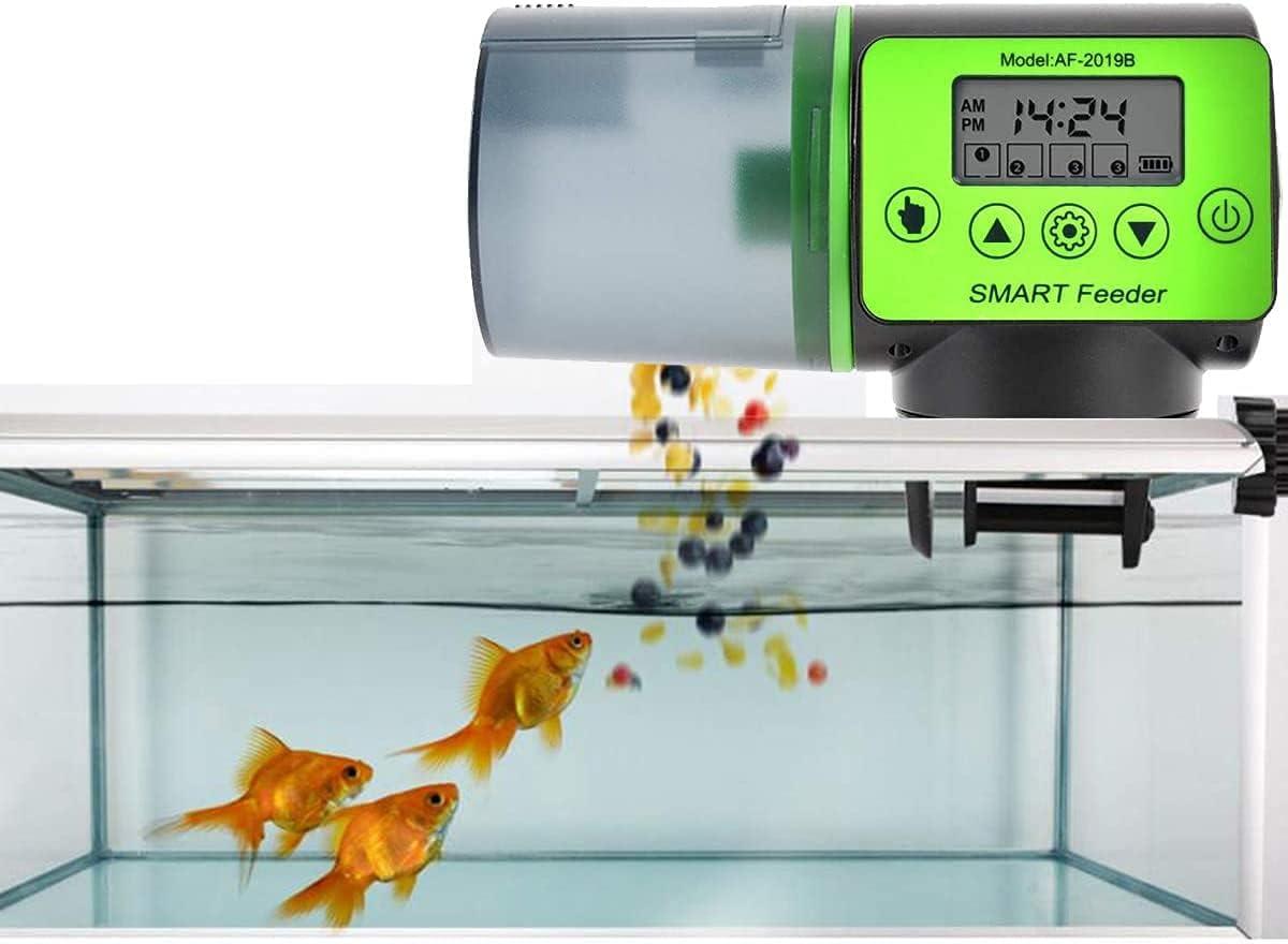 Mangiatoia automatica per pesci acquari con timer digitale per mangimi, regolazione tempo per serbatoio di pesce e tartarughe (A)