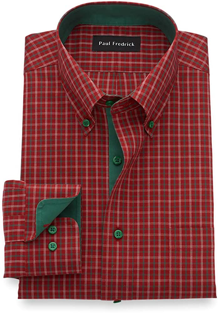 Paul Fredrick Men's Tailored Fit Non-Iron Cotton Check Dress Shirt