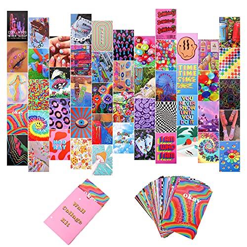 GLAITC 50 sztuk Estetyczny obraz, kolaż, zestaw do kolażu ściennego, kolorowy zestaw kolagenowy, ciepłe kolory, dekoracja pomieszczenia dla dziewczynek, chłopców, sypialni, foto-wyświetlacz, 4 x 6 cali, różne kolory