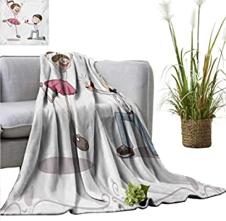 BelleAckerman Bed Blanket Engagement Party,Celebration Cartoon of Love Valentines Couple with Wedding Ring,Pink Blue and White for Bed & Couch Sofa Easy Care 60