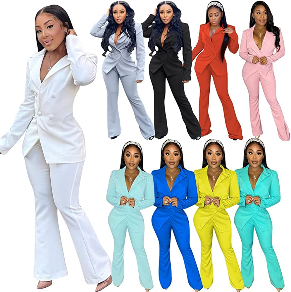 Womens Elegant 2 Piece Outfits Solid Blazer and Pants Long Sleeve Slim Fit Classic Business Suit Clubwear