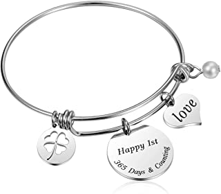 JanToDec Jewelry Happy 1st Year Wedding for Her Adjustable Bangle Bracelet for Wife or Girlfriend, Happy 1st, 365 Days & Counting