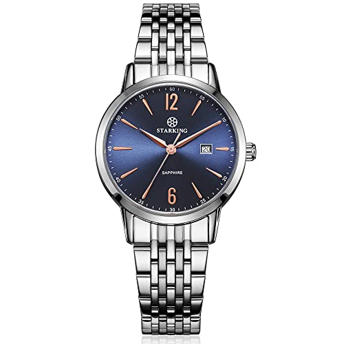 aa10f91fa20 STARKING Women Elegant Japanese Quartz Sapphire BL0976 Silver Stainless  Steel Band Numbers with Date Classic Analog