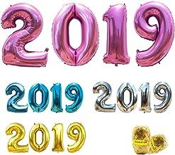 بالونات 2019 بالون رقم 40 بوصة من الورق المقوى لحفلة التخرج واحتفالات الذكرى السنوية وأعياد الميلاد مع أشرطة تمويج وقصة لموسم 2015 بالون (وردي)