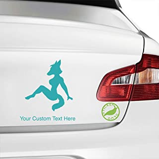 Stickerslug Custom Turquoise 8 inch Fox Sexy Woman Girl Lady Furry Mudflap Custom Text Decal Sticker for car Truck Window Bumper Boat Laptop Tablet Customizable Text Stickers