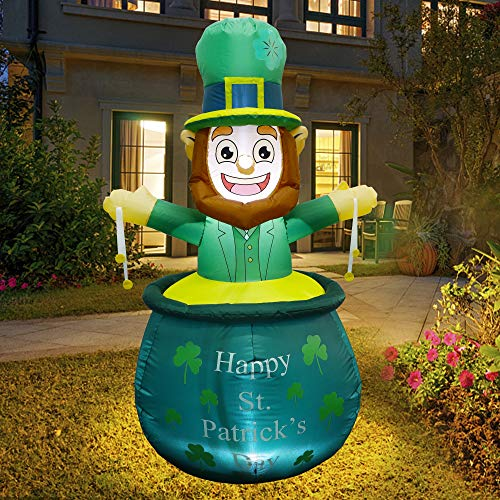 Twinkle Star 5 FT St. Patrick's Day Light Up Inflatable Decoration, Lighted Leprechaun in Pot with Coins, Blow Up Indoor Outdoor Holiday Decor Lawn Yard Garden